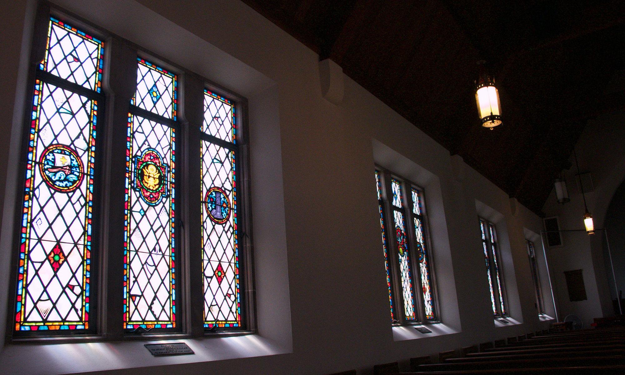 The windows in Memorial Chapel at Lake Junaluska
