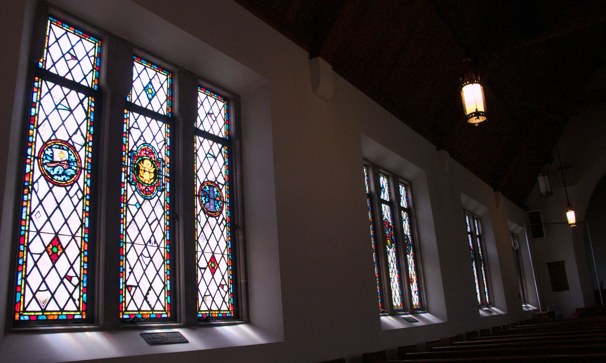The windows in Memorial Chapel at Lake Junaluska